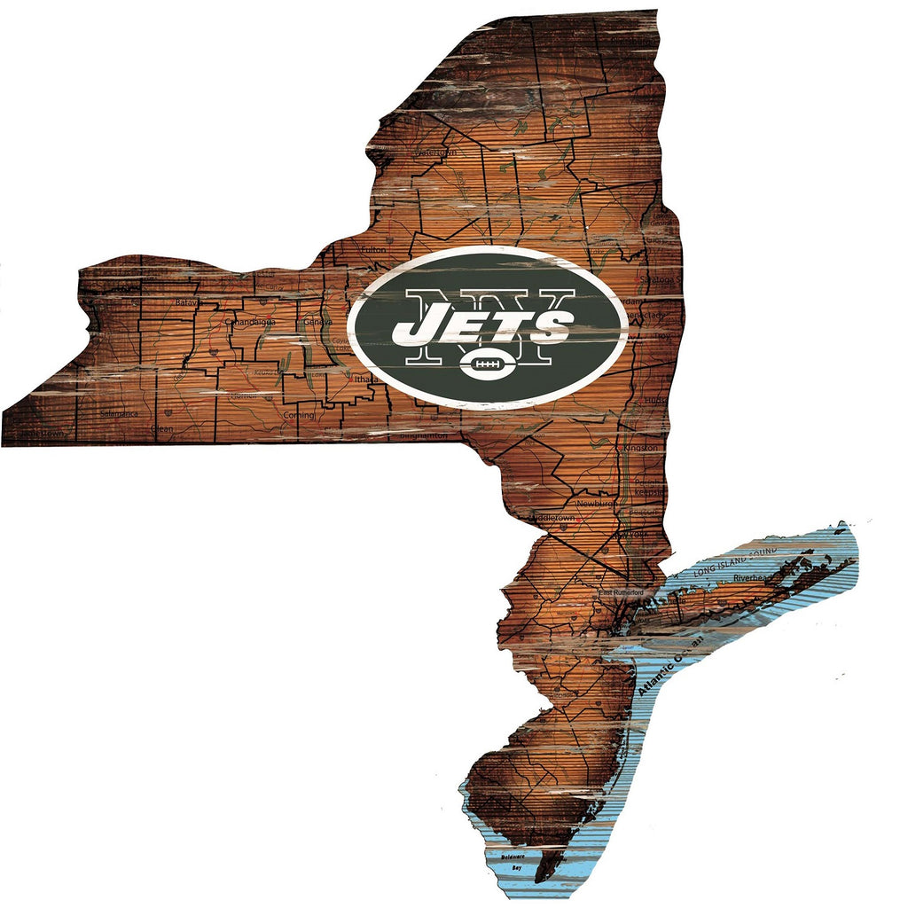 "New York Jets Distressed State with Logo 24"" Wall Art"