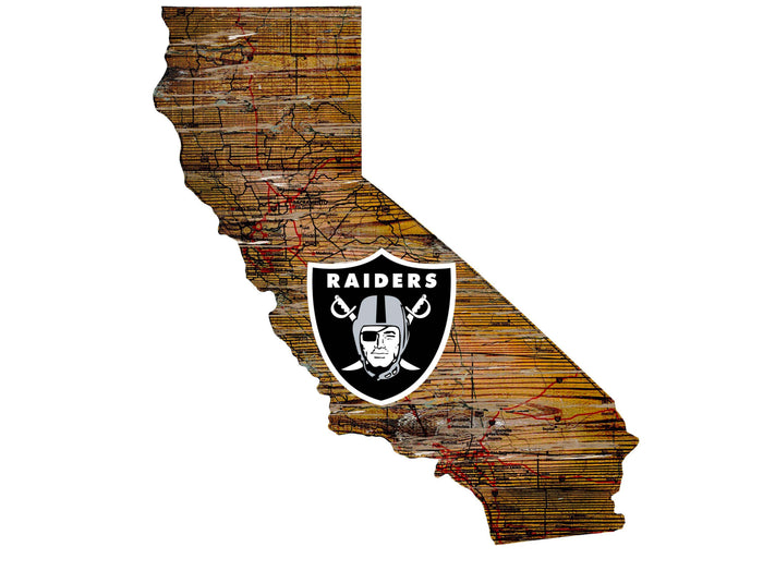 "Oakland Raiders Distressed State with Logo 24"" Wall Art"