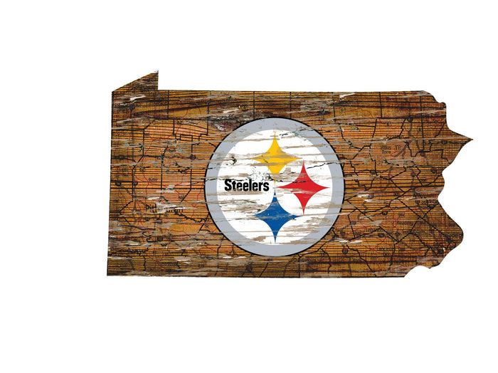 "Pittsburgh Steelers Distressed State with Logo 24"" Wall Art"