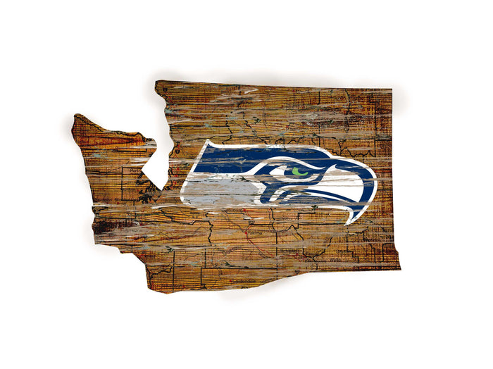 "Seattle Seahawks Distressed State with Logo 24"" Wall Art"