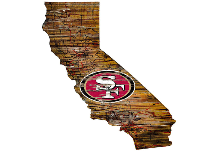 "San Francisco 49ers Distressed State with Logo 24"" Wall Art"