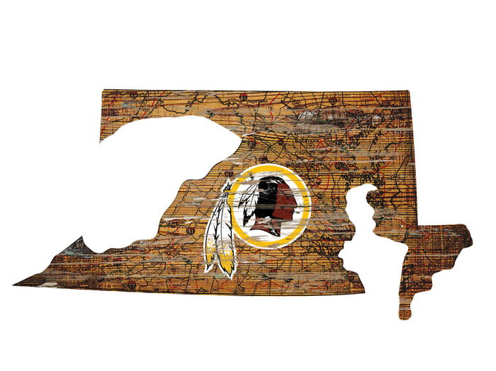 "Washington Redskins Distressed State with Logo 24"" Wall Art"