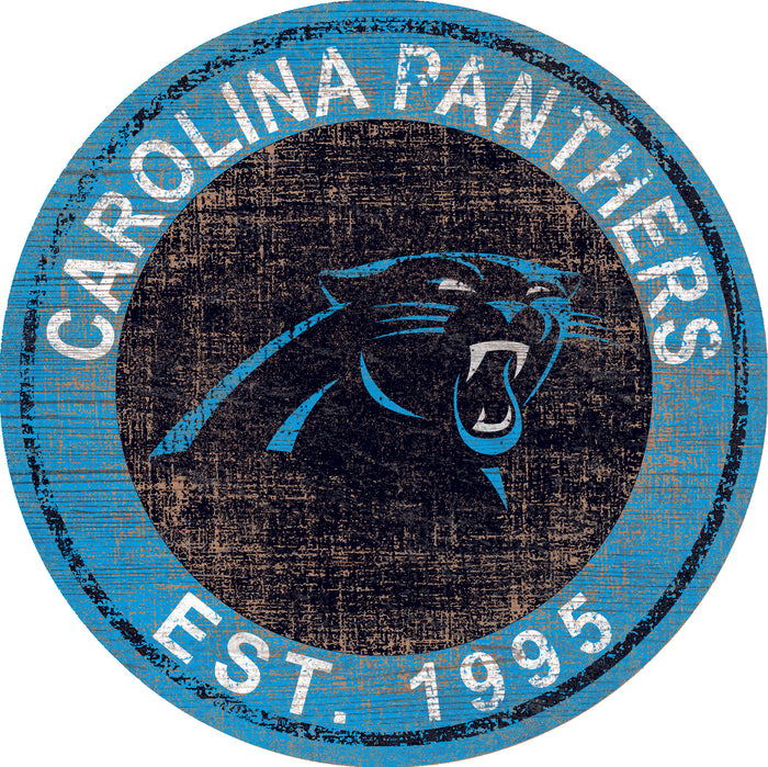 "Fan Cave Rugs:Carolina Panthers Heritage Logo 24"" Round Wall Art"