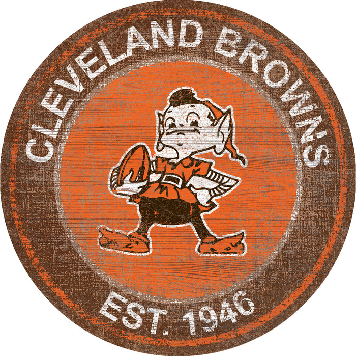 "Fan Cave Rugs:Cleveland Browns Heritage Logo 24"" Round Wall Art"