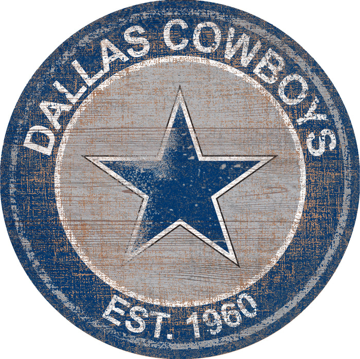 "Fan Cave Rugs:Dallas Cowboys Heritage Logo 24"" Round Wall Art"