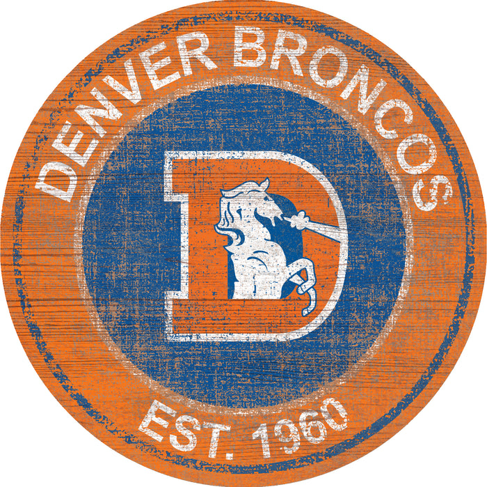"Fan Cave Rugs:Denver Broncos Heritage Logo 24"" Round Wall Art"