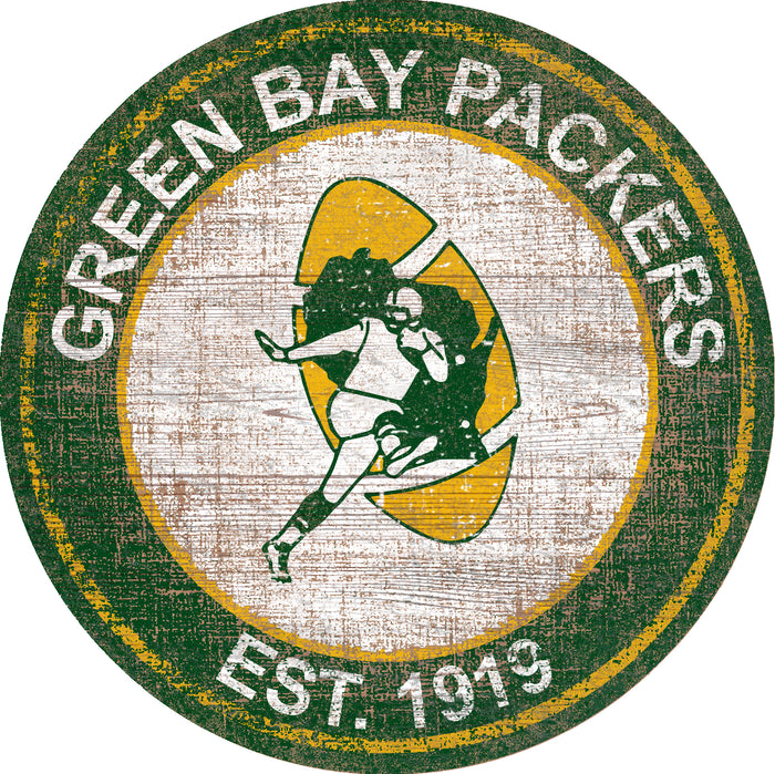 "Green Bay Packers Heritage Logo 24"" Round Wall Art"