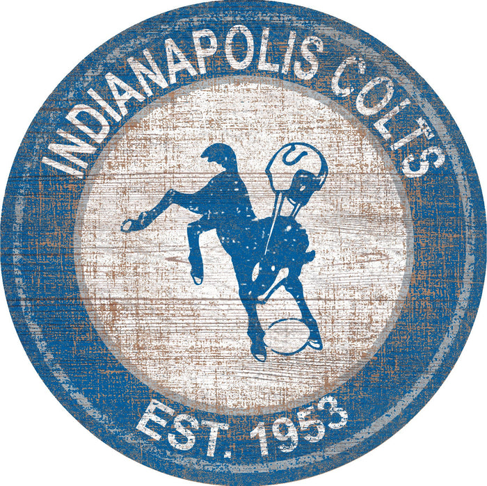 "Indianapolis Colts Heritage Logo 24"" Round Wall Art"