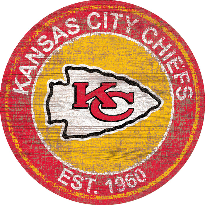 "Kansas City Chiefs Heritage Logo 24"" Round Wall Art"
