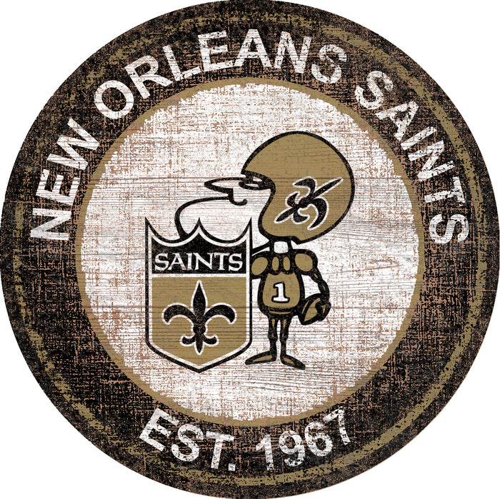 "New Orleans Saints Heritage Logo 24"" Round Wall Art"