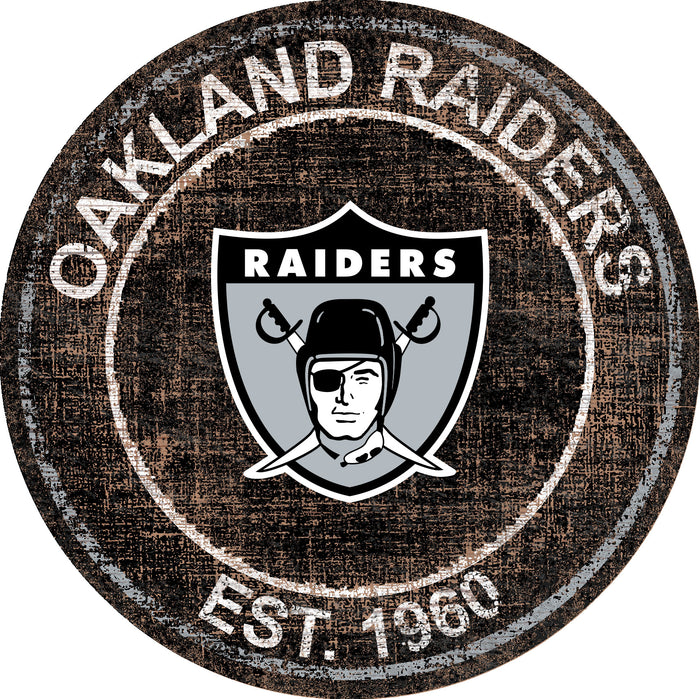 "Oakland Raiders Heritage Logo 24"" Round Wall Art"