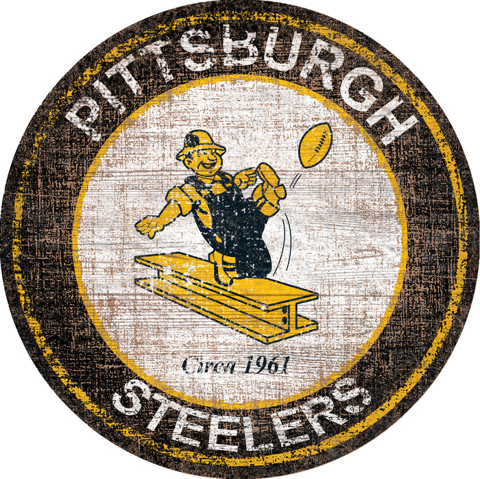 "Pittsburgh Steelers Heritage Logo 24"" Round Wall Art"