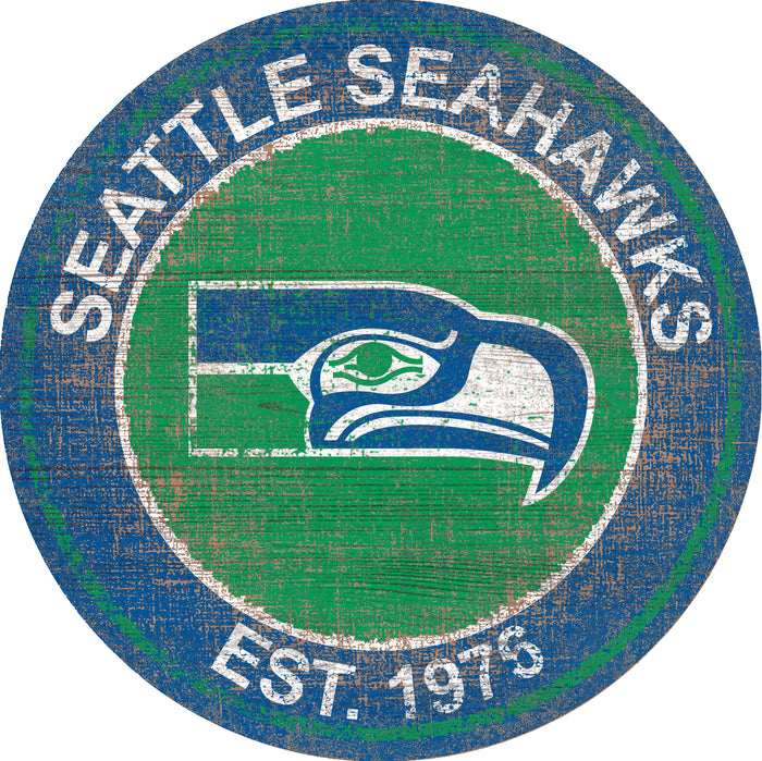 "Seattle Seahawks Heritage Logo 24"" Round Wall Art"