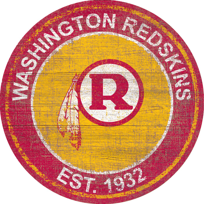 "Washington Redskins Heritage Logo 24"" Round Wall Art"
