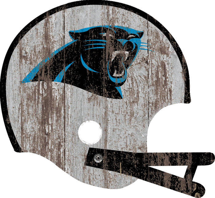 "Fan Cave Rugs:Carolina Panthers Distressed Helmet Cutout 24"" Wall Art"