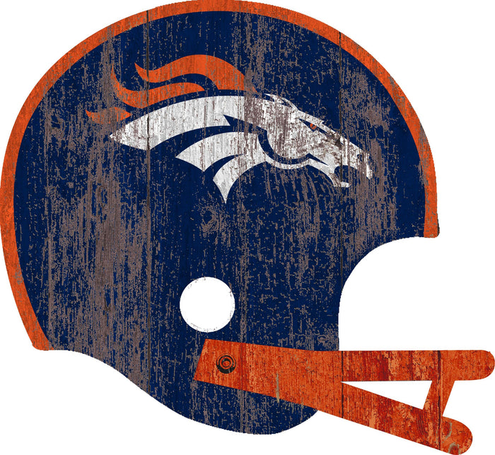 "Fan Cave Rugs:Denver Broncos Distressed Helmet Cutout 24"" Wall Art"