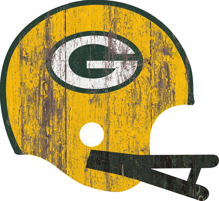 "Green Bay Packers Distressed Helmet Cutout 24"" Wall Art"