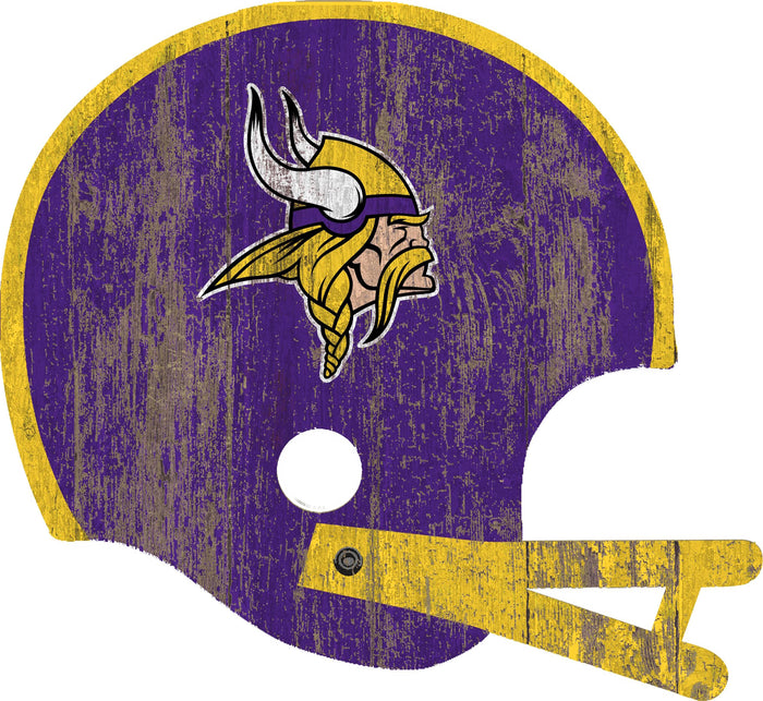 "Minnesota Vikings Distressed Helmet Cutout 24"" Wall Art"