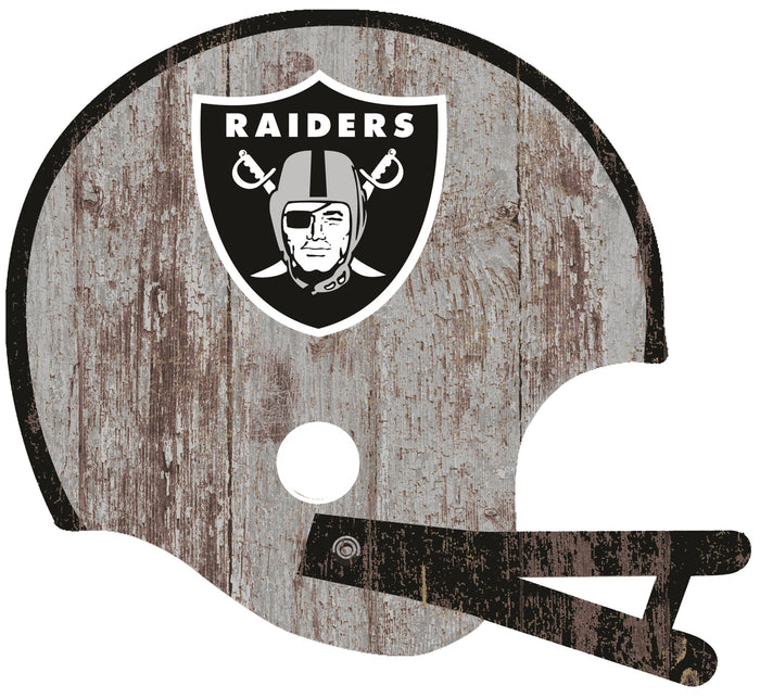 "Oakland Raiders Distressed Helmet Cutout 24"" Wall Art"