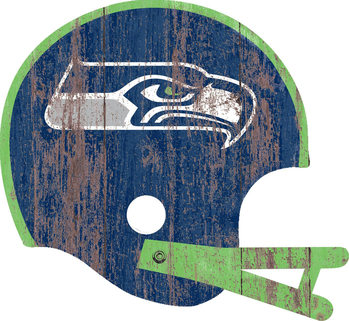 "Seattle Seahawks Distressed Helmet Cutout 24"" Wall Art"