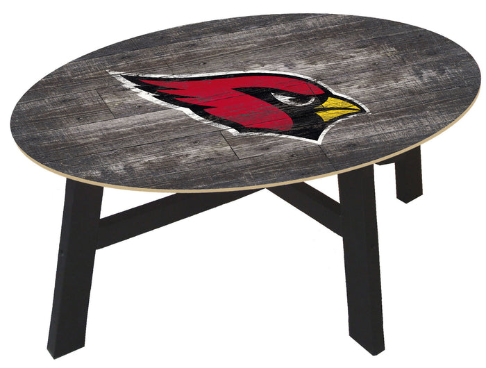 Arizona Cardinals Logo Distressed Wood Coffee Table