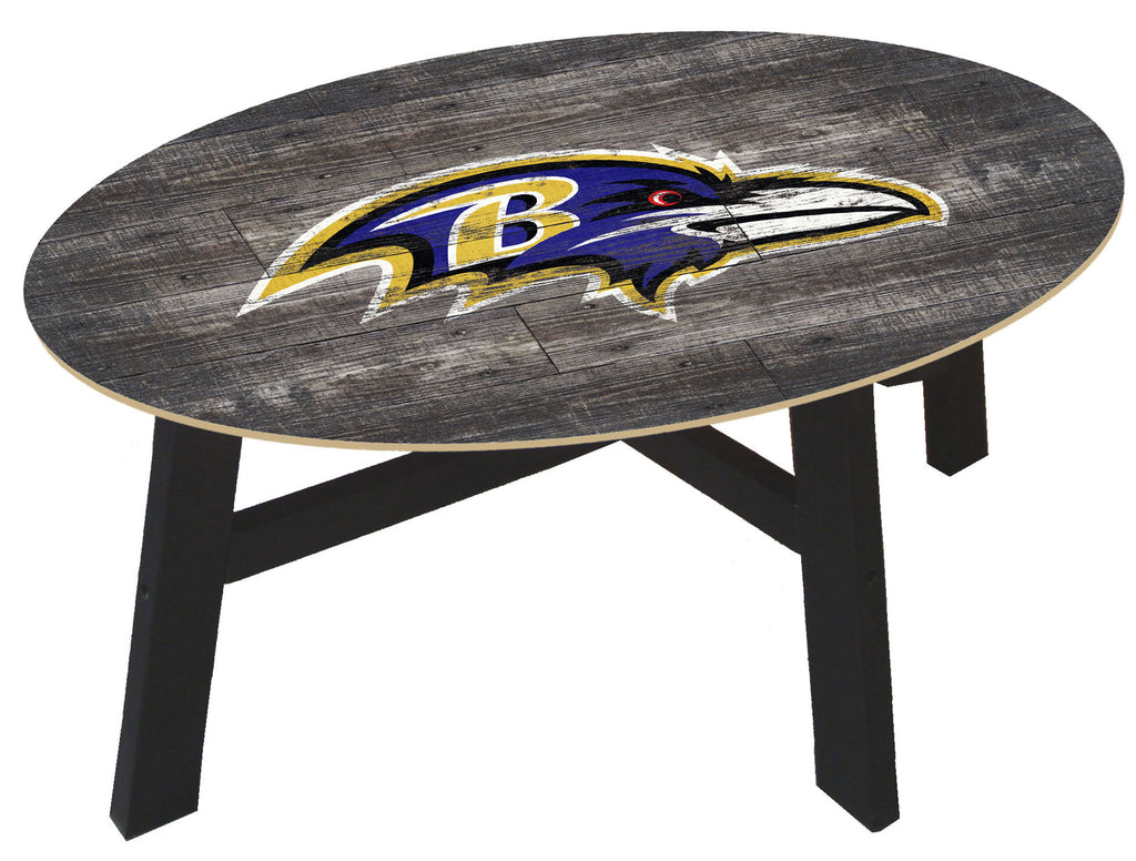 Baltimore Ravens Logo Distressed Wood Coffee Table