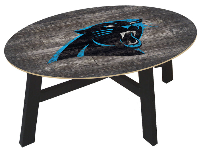 Carolina Panthers Logo Distressed Wood Coffee Table