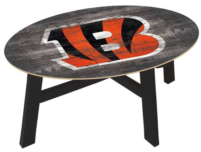 Cincinnati Bengals Logo Distressed Wood Coffee Table