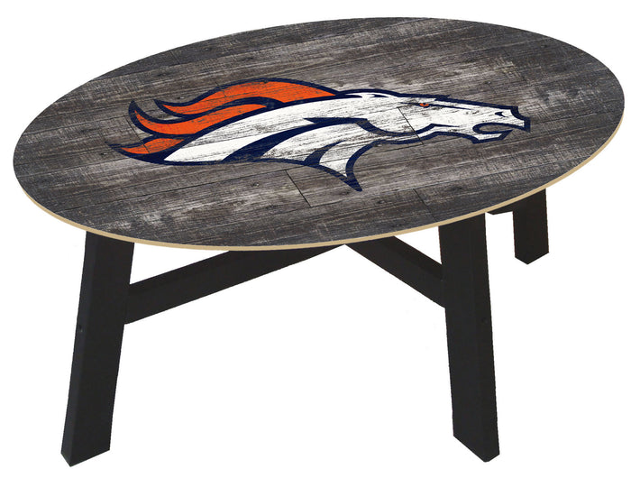 Denver Broncos Logo Distressed Wood Coffee Table