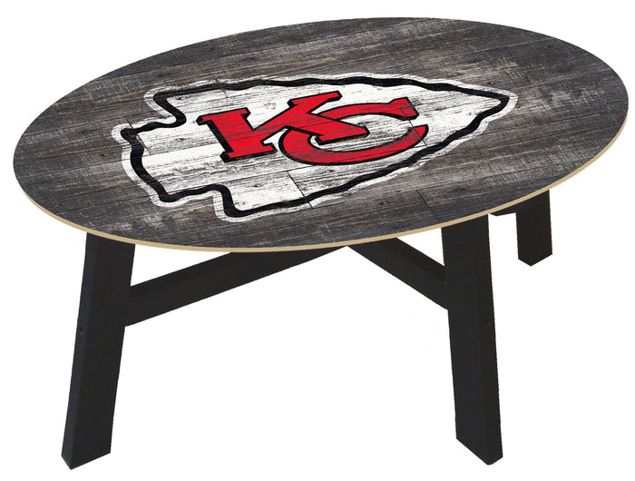 Kansas City Chiefs Distressed Wood Coffee Table