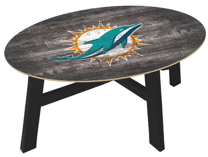 Miami Dolphins Distressed Wood Coffee Table