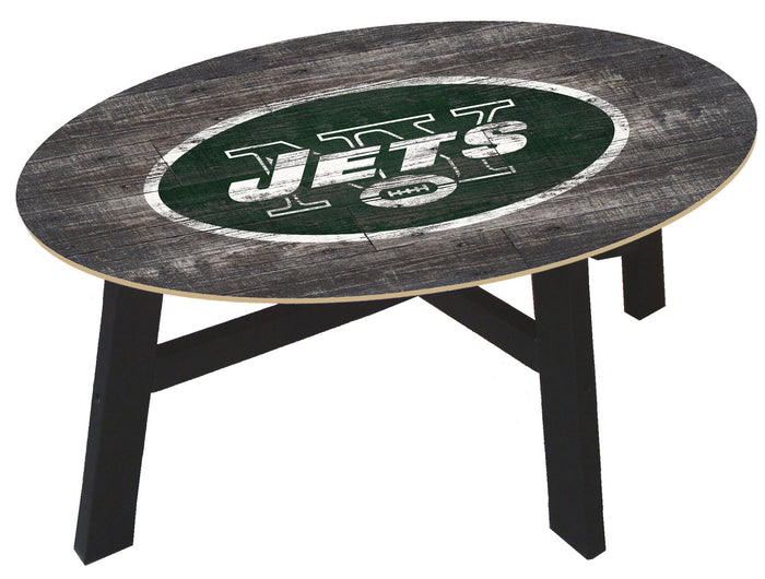 New York Jets Distressed Wood Coffee Table