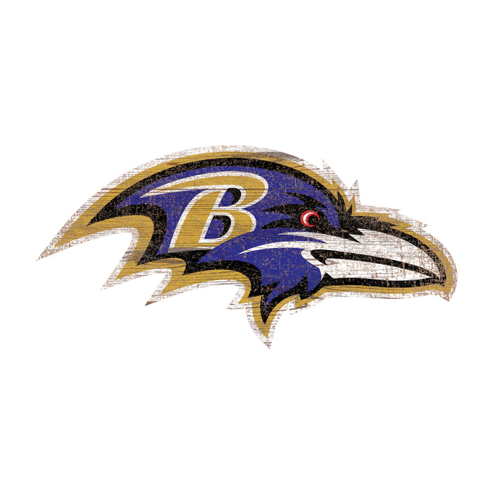 "Baltimore Ravens Distressed Logo Cutout 24"" Sign - Fan Cave Rugs"