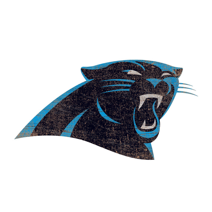 "Fan Cave Rugs:Carolina Panthers Distressed Logo Cutout 24"" Sign"