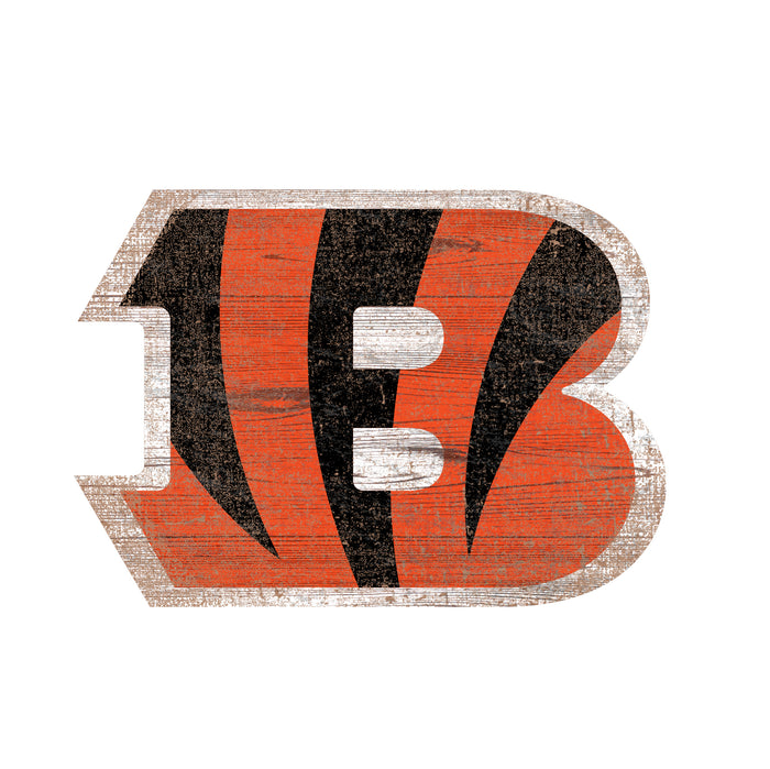 "Fan Cave Rugs:Cincinnati Bengals Distressed Logo Cutout 24"" Sign"