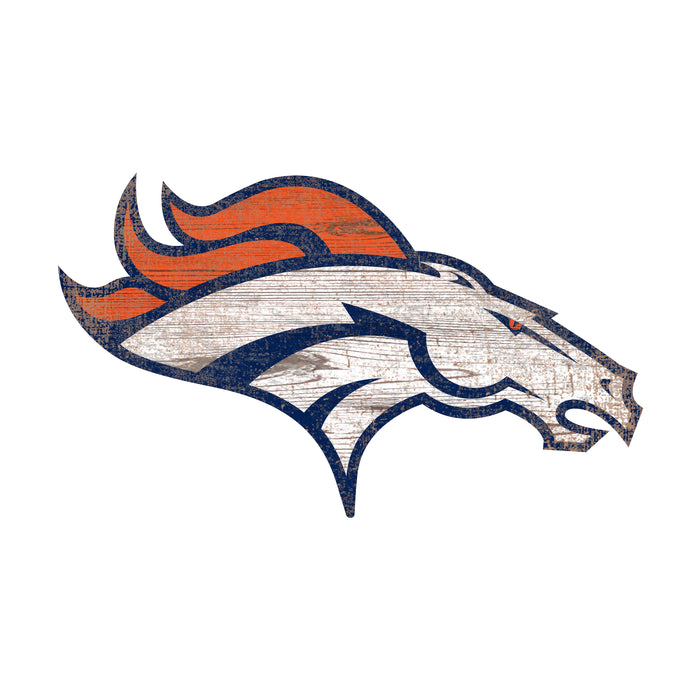 "Denver Broncos Distressed Logo Cutout 24"" Sign - Fan Cave Rugs"