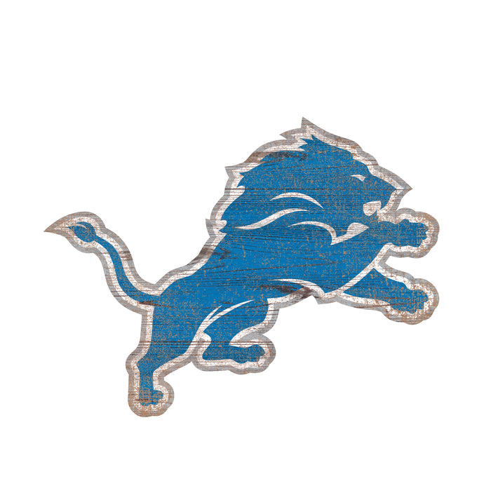 "Detroit Lions Distressed Logo Cutout 24"" Sign - Fan Cave Rugs"