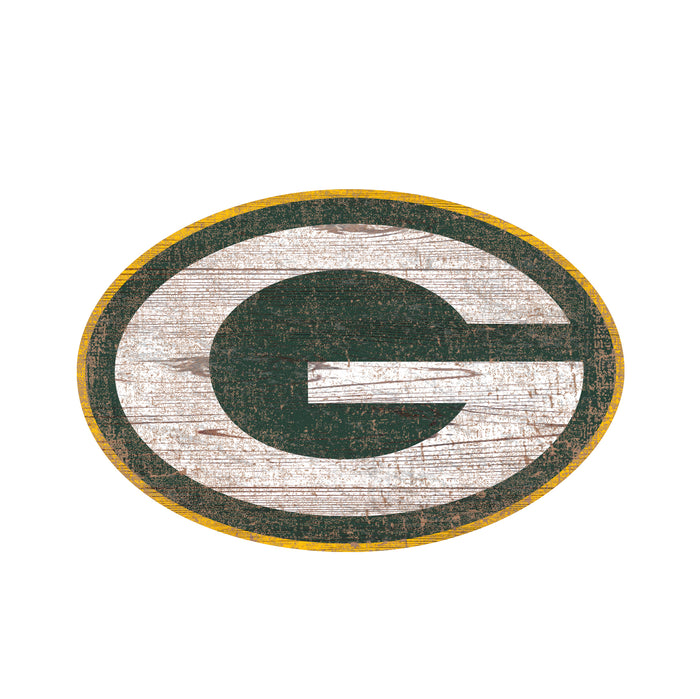 "Green Bay Packers Distressed Logo Cutout 24"" Sign"