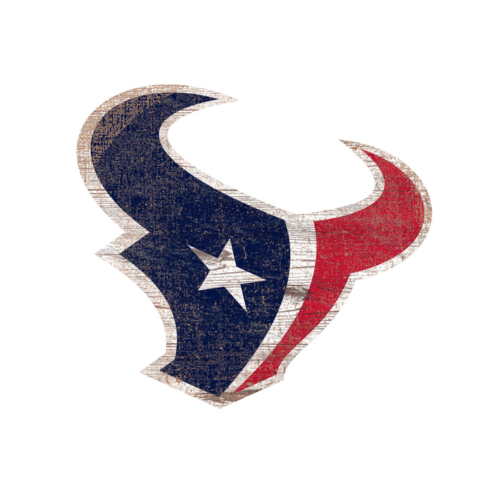 "Houston Texans Distressed Logo Cutout 24"" Sign"