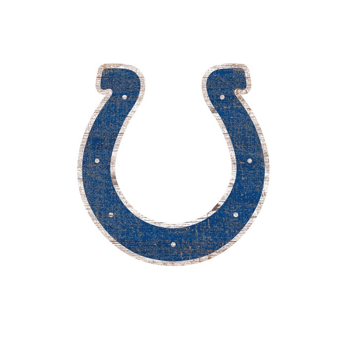 "Indianapolis Colts Distressed Logo Cutout 24"" Sign"