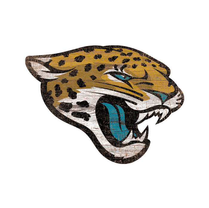"Jacksonville Jaguars Distressed Logo Cutout 24"" Sign"