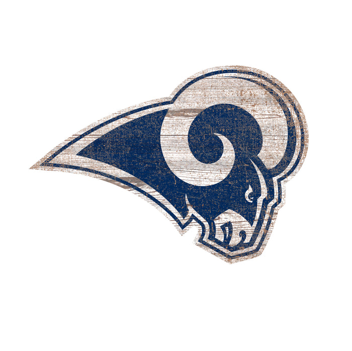 "Los Angeles Rams Distressed Logo Cutout 24"" Sign"