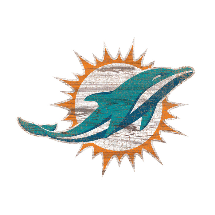 "Miami Dolphins Distressed Logo Cutout 24"" Sign"