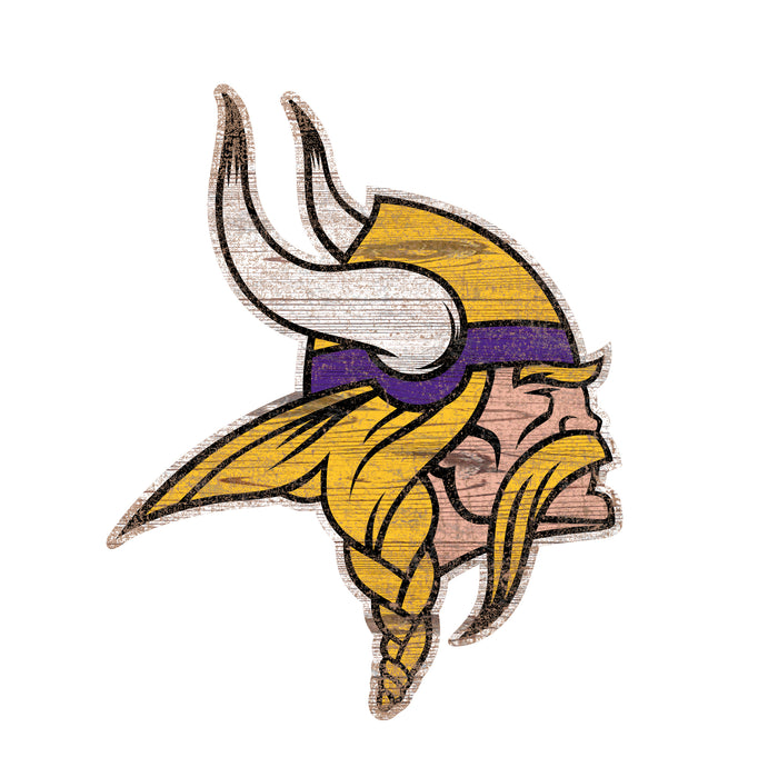 "Minnesota Vikings Distressed Logo Cutout 24"" Sign - Fan Cave Rugs"