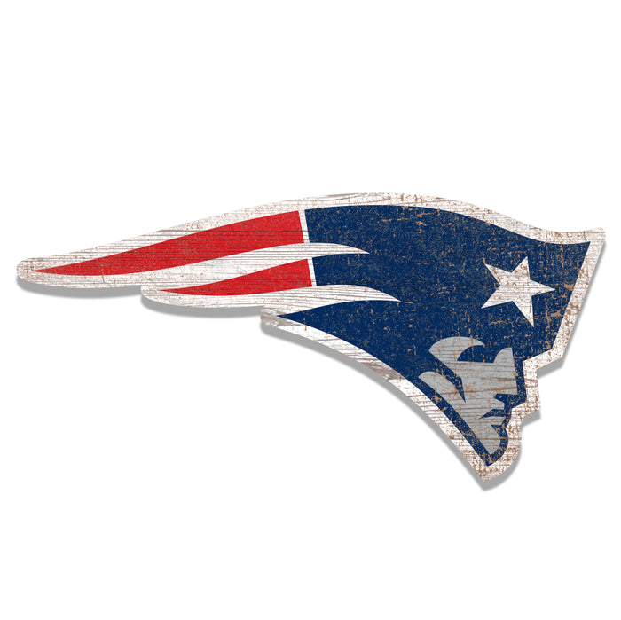 "New England Patriots Distressed Logo Cutout 24"" Sign"