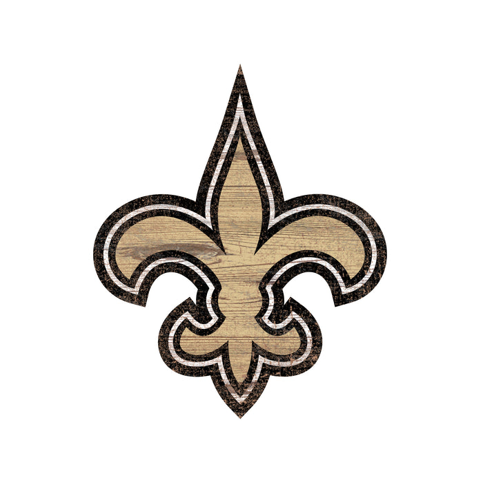 "New Orleans Saints Distressed Logo Cutout 24"" Sign - Fan Cave Rugs"