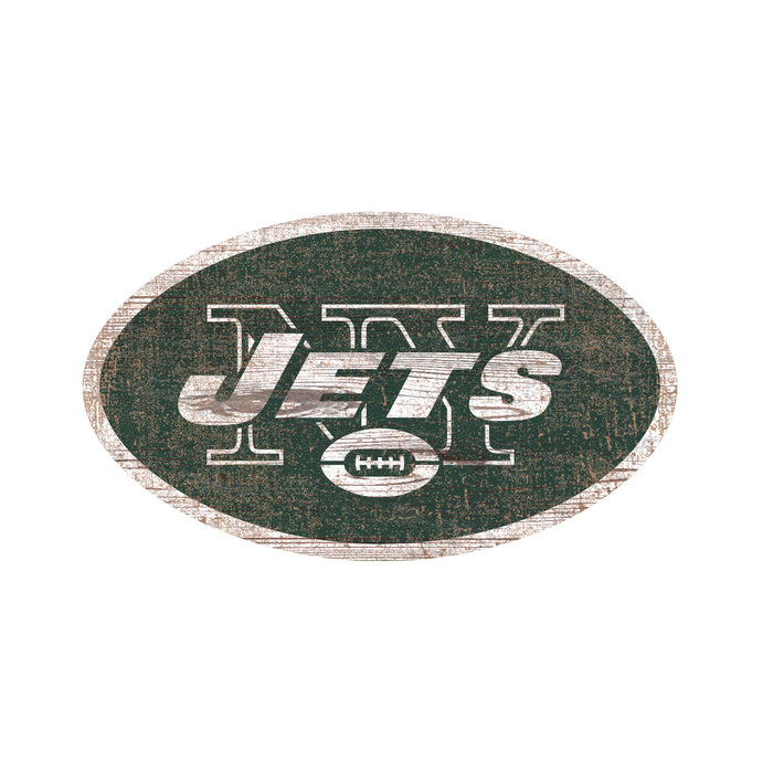 "New York Jets Distressed Logo Cutout 24"" Sign"