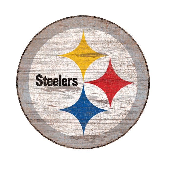 "Pittsburgh Steelers Distressed Logo Cutout 24"" Sign"
