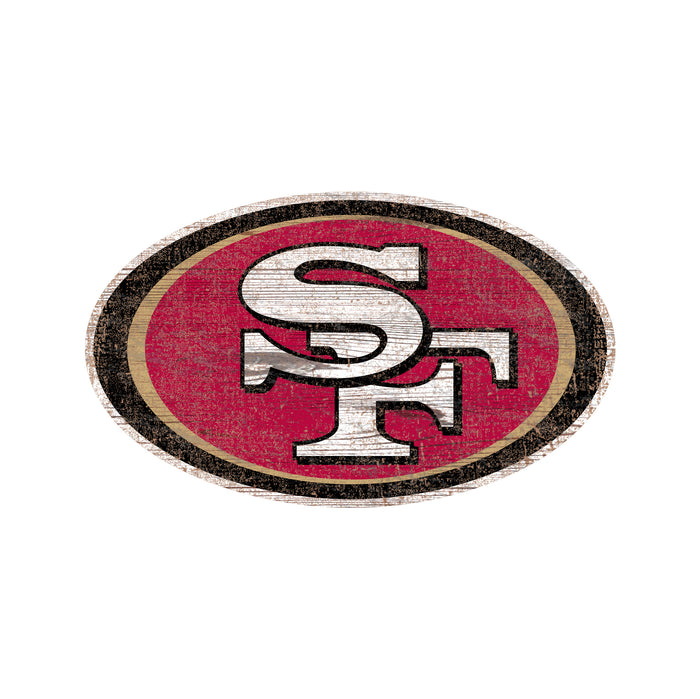 "San Francisco 49ers Distressed Logo Cutout 24"" Sign"