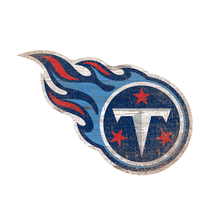 "Tennessee Titans Distressed Logo Cutout 24"" Sign"
